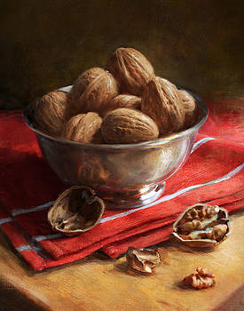 Walnuts on Red by Robert Papp