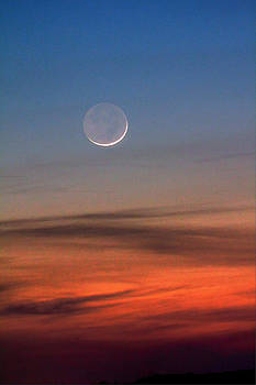 The Waning Spring Twilight Moon by David M Jones