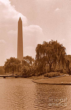 Washington Monument Sepia by C Ray  Roth