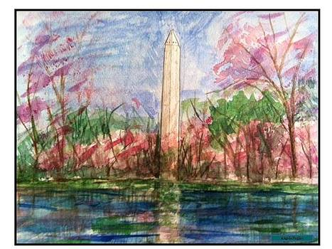 Washington Monument Spring by Angela Puglisi MFA
