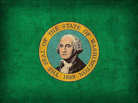 Design Turnpike - Washington State Flag Art on Worn Canvas