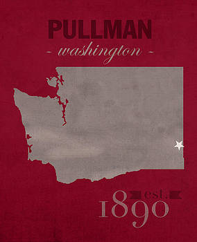 Design Turnpike - Washington State University Cougars Pullman College Town State Map Poster Series No 123