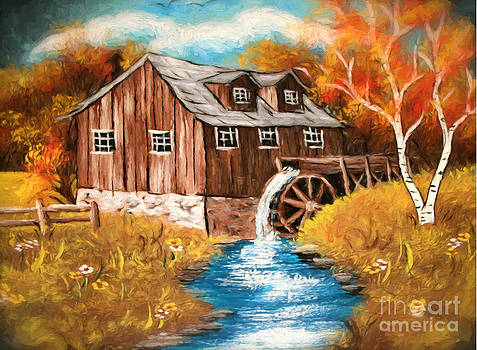 Water Mill  Oil Painting on canvas by Heinz G Mielke