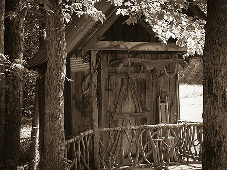 Water Wheel Shed I sepia by Robert J Andler