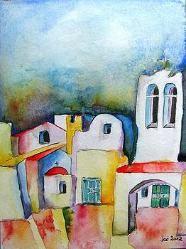 Watercolor ... meets Greek architecture by Jacqueline Schreiber