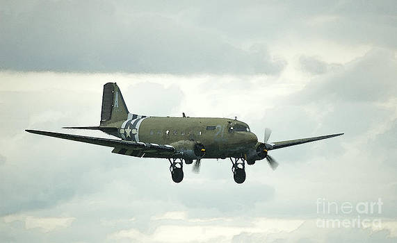 Tim Mulina - Watercolor C-47 Dakota landing