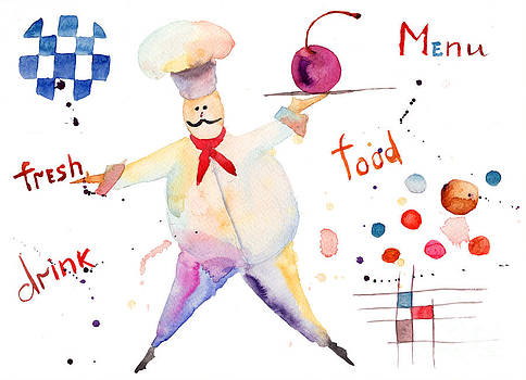 Watercolor illustration of chef by Regina Jershova