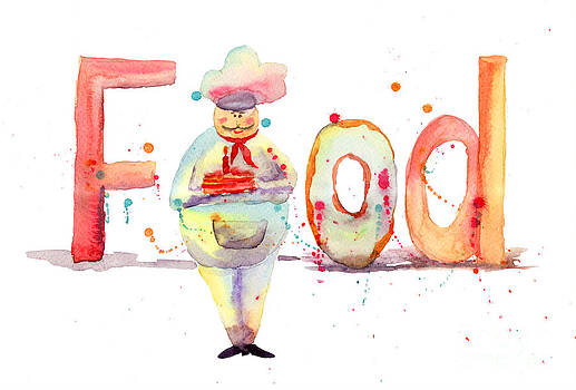 Watercolor illustration of inscription food with chef  by Regina Jershova