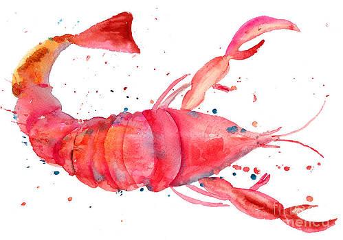 Watercolor illustration of lobster by Regina Jershova