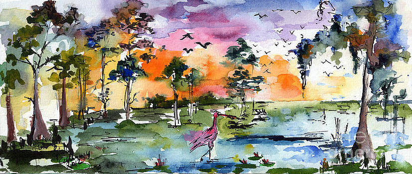 Ginette Callaway - Watercolor Landscape Wetland Nature with Spoonbill