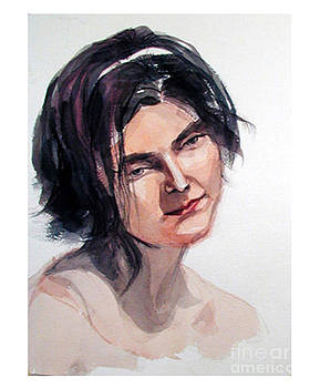 Watercolor portrait of a young pensive woman with headband by Greta Corens