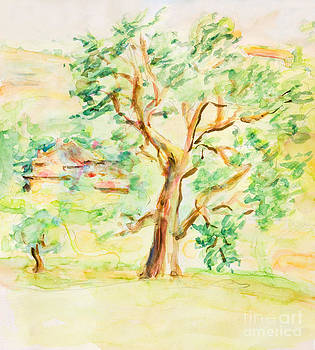 Watercolor Rural Summer Landscape by Kiril Stanchev