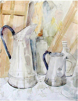 Watercolor still life of white cans by Greta Corens