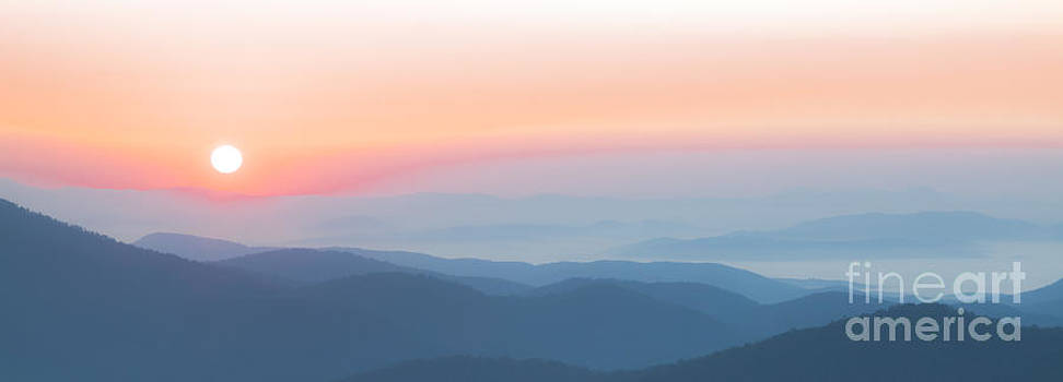 Watercolor Sunrise In The Blue Ridge Mountains by Jo Ann Tomaselli