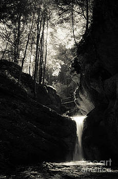 Waterfall In Black And White by Cosmin Pintoc