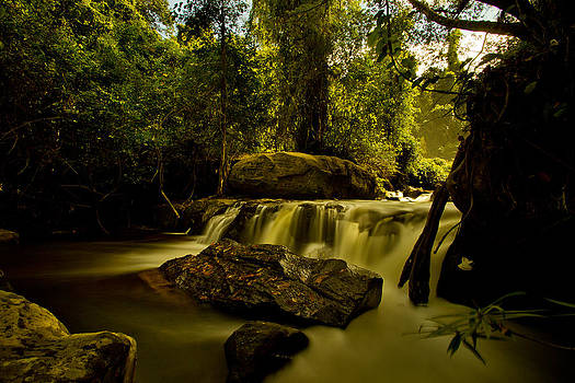 Waterfall in picturesqu environment by Thomas Pfeller