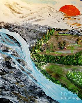 Waterfall In the Canyon by Marie Bulger