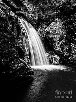 Waterfall Stowe Vermont Black and White by Edward Fielding