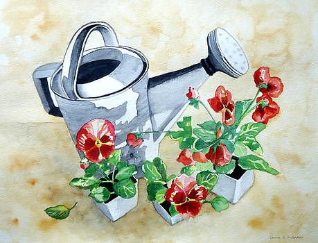 Watering Can with Pansies by Laurie Anderson