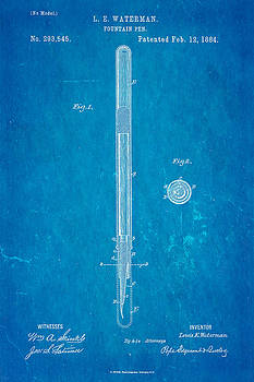 Ian Monk - Waterman Fountain Pen Patent Art 1884 Blueprint