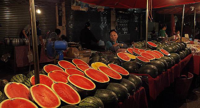 Watermelon in Thai Market by Duane Bigsby
