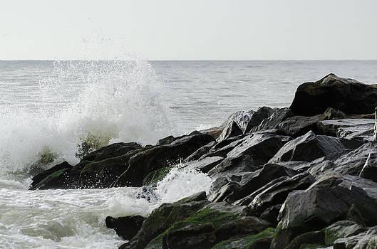 Wave on Rocks by Maureen E Ritter