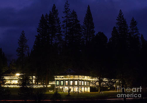 Wawona Hotel Yosemite National Park at night by Lisza Anne McKee