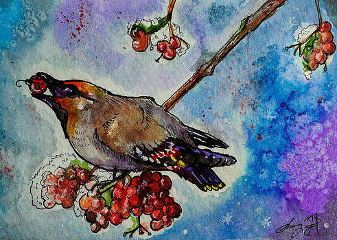 Waxwing Christmas by Sydney Gregory