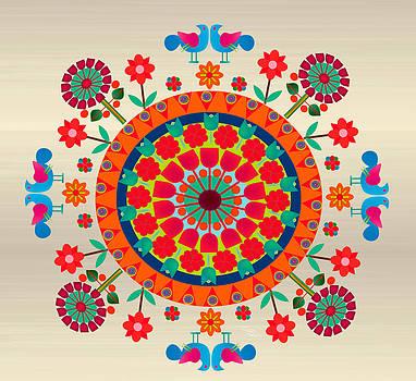 Wayuu Art Orange Sun by Gabriela Delgado