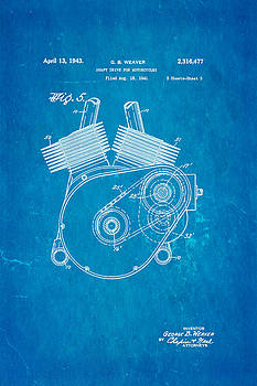 Ian Monk - Weaver Indian Motorcycle Shaft Drive 2 Patent Art 1943 Blueprint