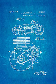 Ian Monk - Weaver Indian Motorcycle Shaft Drive Patent Art 1943 Blueprint