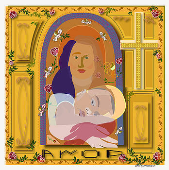 Mother Mary with baby Jesus by Brian  Gerritsen