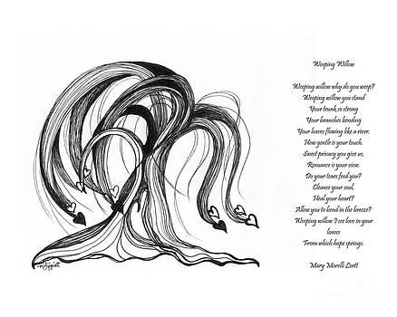 Weeping Willow With Poem by Minnie Lippiatt