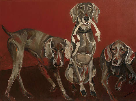 Weimaraners X 3 by Ellin Blumenthal