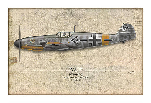 Werner Molders Messerschmitt Bf-109 - Map Background by Craig Tinder