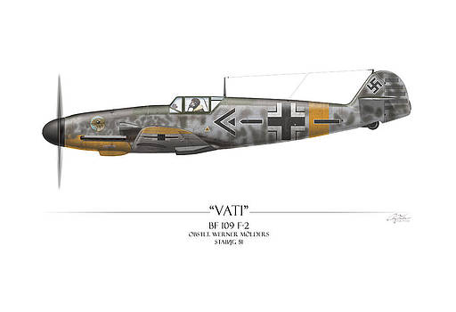 Werner Molders Messerschmitt Bf-109 - White Background by Craig Tinder