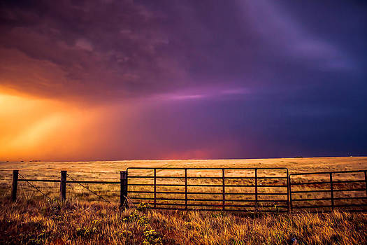 Western Front - Colorful Sky Over Field in Western Oklahoma by Sean Ramsey