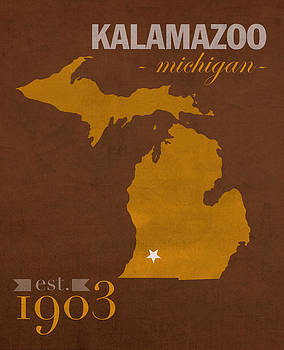 Design Turnpike - Western Michigan University Broncos Kalamazoo MI College Town State Map Poster Series No 126
