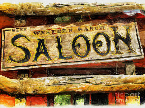 Western Saloon Sign - Drawing by Daliana Pacuraru