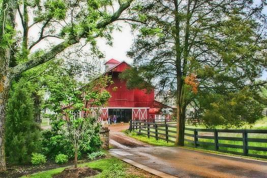 Landscape - Barn - Wet Day on the Farm by Barry Jones