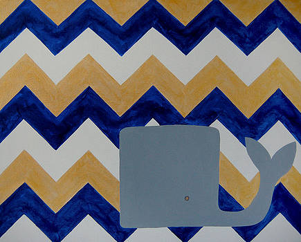 Whale and Goldie Chevron by Nicole Dietz