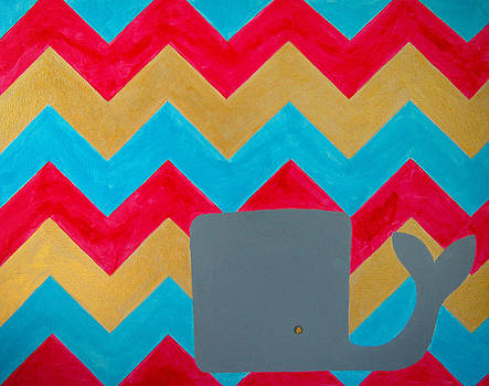 Whale and Pink Chevron by Nicole Dietz