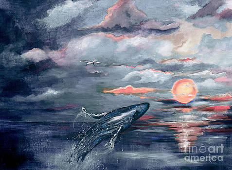 Ginette Callaway - Whale Jumping Ocean Sunset