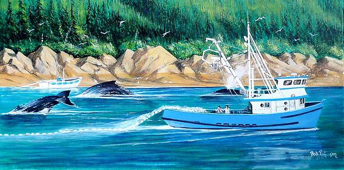 Whales and fisherman by Bob Patterson