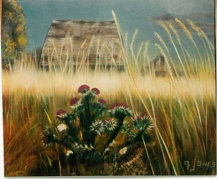 Wheat Thistle and Barn by Geri Jones