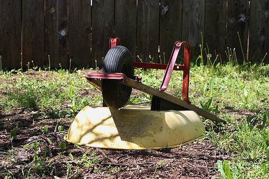 Wheel Barrow in a Yard by Robert D  Brozek