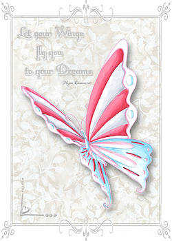 Whimsical Elegant Butterfly Inspirational Dreams Quote by Megan Duncanson by Megan Duncanson