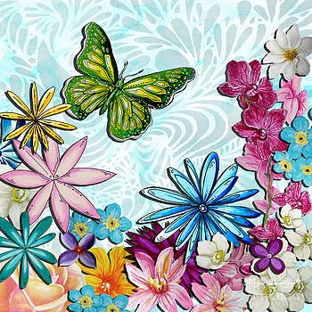 Whimsical Floral Flowers butterfly Art Colorful Uplifting Painting by Megan Duncanson by Megan Duncanson
