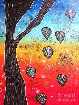 Whimsical Painting-Falling Leaves by Priyanka Rastogi