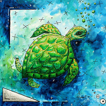 Whimsical Sea Turtle Original Painting by Megan Duncanson by Megan Duncanson